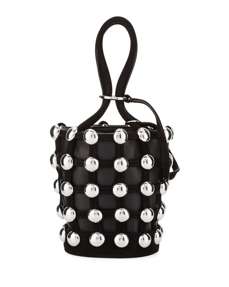 Roxy Mini Studded Suede Bucket Bag, Black
