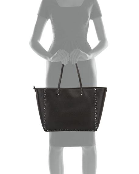Rockstud Rolling Medium Reversible Tote Bag, Black