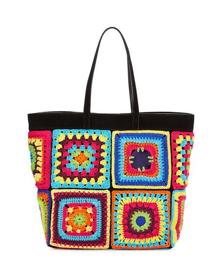 Missoni Santiago Pillow: Moschino Crochet Patchwork Tote Bag, Multi