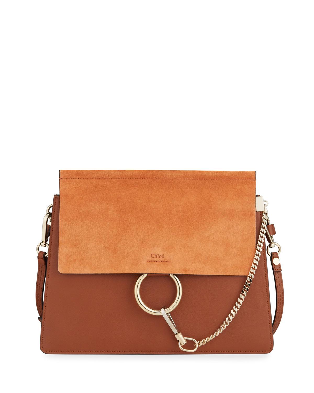 52e1788341 Chloe Faye Medium Leather   Suede Shoulder Bag