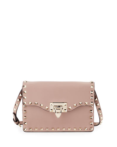 Small Rockstud Flap Crossbody Bag, Beige