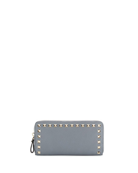 Rockstud Zip-Around Wallet, Light Gray