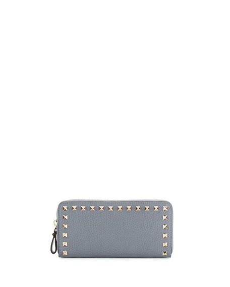 Valentino Garavani Rockstud Zip-Around Wallet, Light Gray