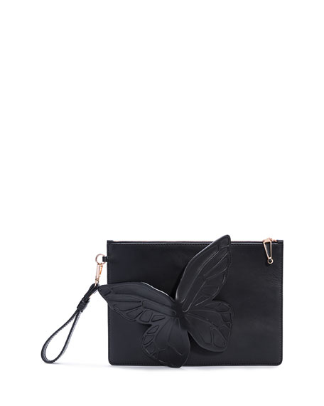 Sophia Webster Flossy Butterfly Leather Pouch Bag, Black