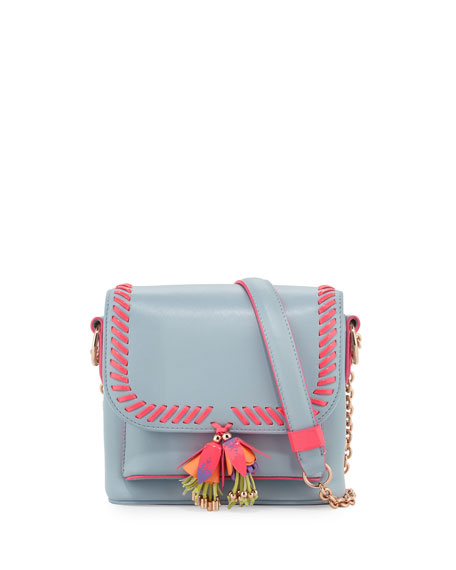 Claudie Tassel Leather Crossbody Bag, Pearl Blue