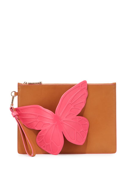 Sophia Webster Flossy Butterfly Leather Pouch Bag, Tan