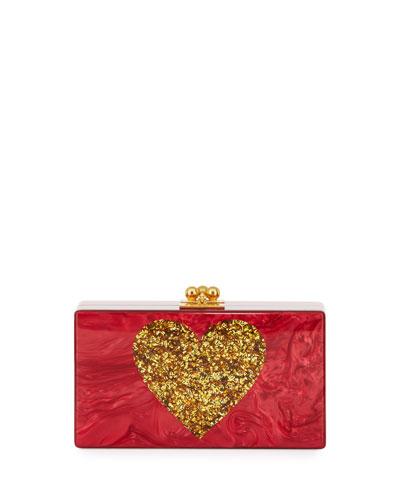 Jean Heart Box Clutch Bag, Red