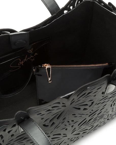 Liara Laser-Cut Butterfly Tote Bag, Black