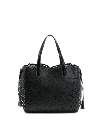 Liara Laser-Cut Butterfly Tote Bag, Black