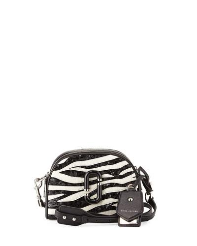 Shutter Small Zebra-Print Camera Bag, Dove/Multi
