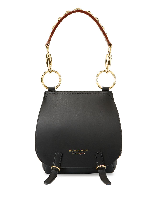 Bridle Grainy Leather Shoulder Bag Black