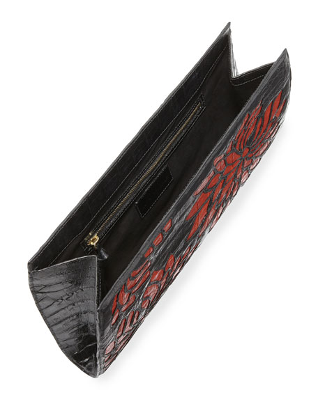 Floral Crocodile Slicer Clutch Bag, Black/Red
