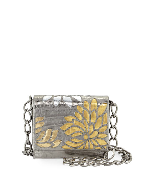 Gio Laser-Cut Flower Crocodile Crossbody Bag, Anthracite/Multi