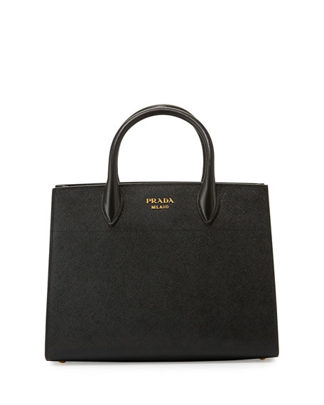 Prada Bibliothèque Medium Saffiano Top-Handle Tote Bag, Black ...