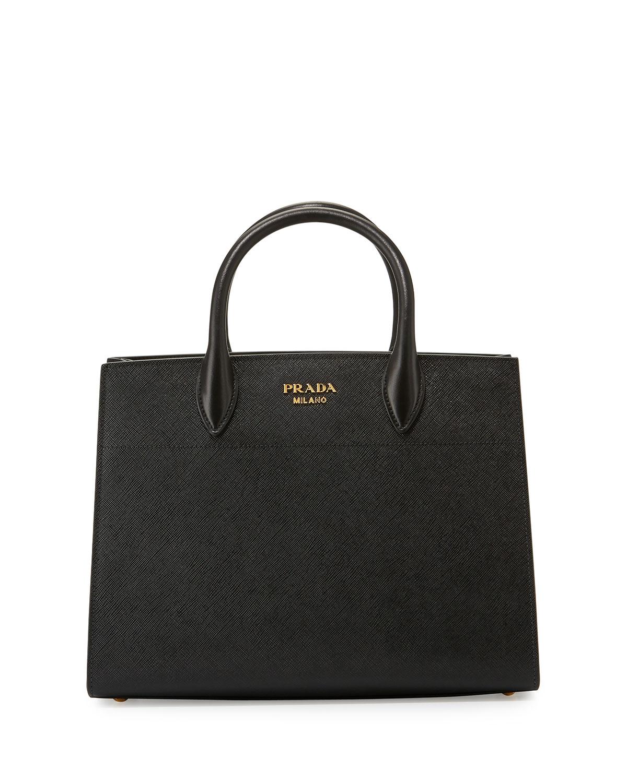 afe2b2bd9766 Prada Bibliotheque Medium Saffiano Top-Handle Tote Bag, Black/White (Nero+