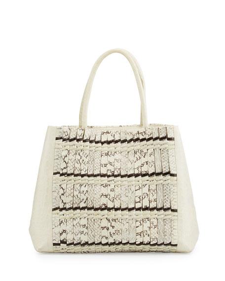 Nancy Gonzalez Crocodile Medium Striped Convertible Tote Bag,