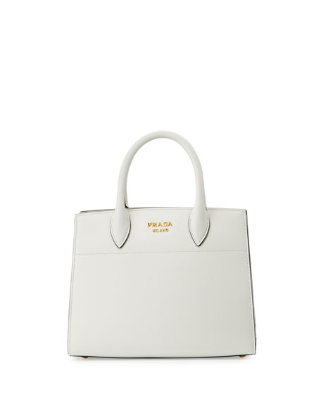 Prada Bibliothèque Small Saffiano Tote Bag, White/Black