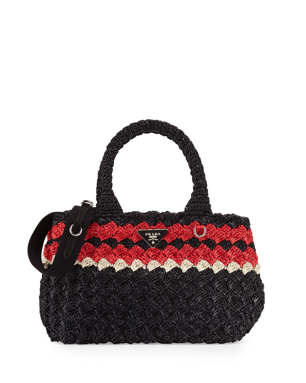64e91b81b9e1 Prada Giardiniera Raffia Tote Bag | Neiman Marcus