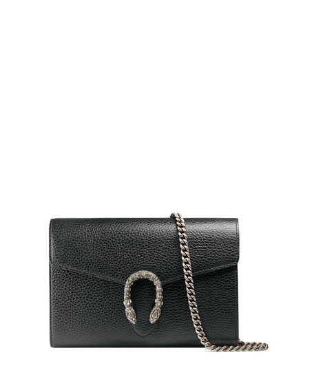 Gucci Dionysus Leather Mini Chain Bag, Black