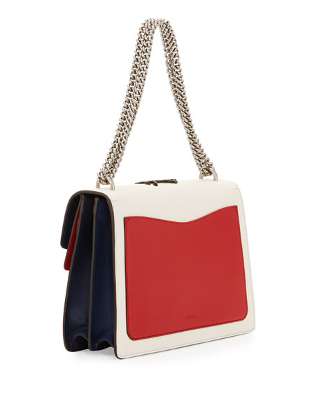 Dionysus Medium Embroidered Leather Shoulder Bag, White/Red/Blue
