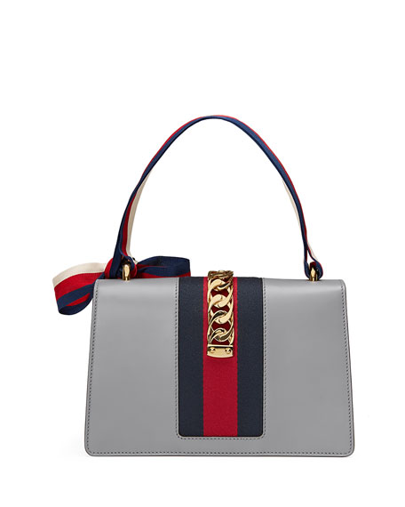 Sylvie Small Leather Shoulder Bag, Gray