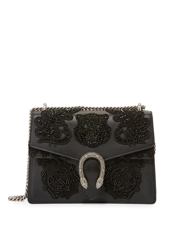 58cf5fb5f45f Gucci Dionysus Medium Embroidered Shoulder Bag, Black | Neiman Marcus