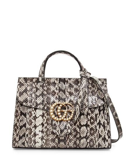 Gucci GG Marmont Small Pearly Snakeskin Top-Handle Satchel
