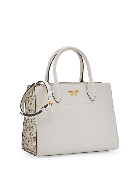 City Calf + Watersnake Bibliotheque Small Tote Bag, White (Bianco)