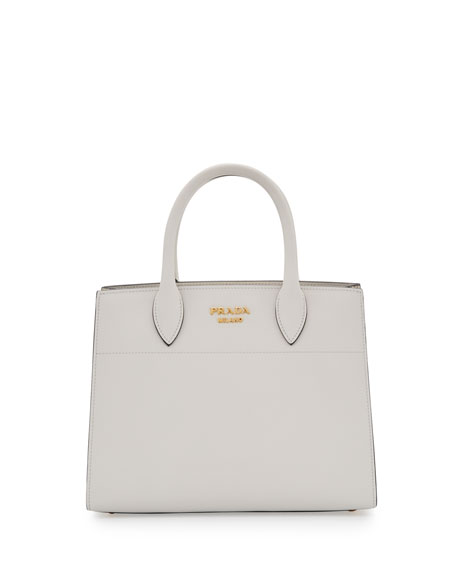 City Calf + Watersnake Bibliothèque Small Tote Bag, White (Bianco)