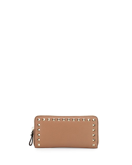 Rockstud Zip-Around Wallet, Camel