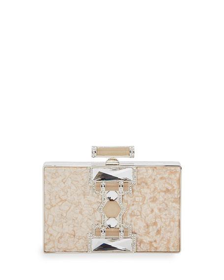 Jazz Age Ridged Rectangle Marble Resin Clutch Bag, Black