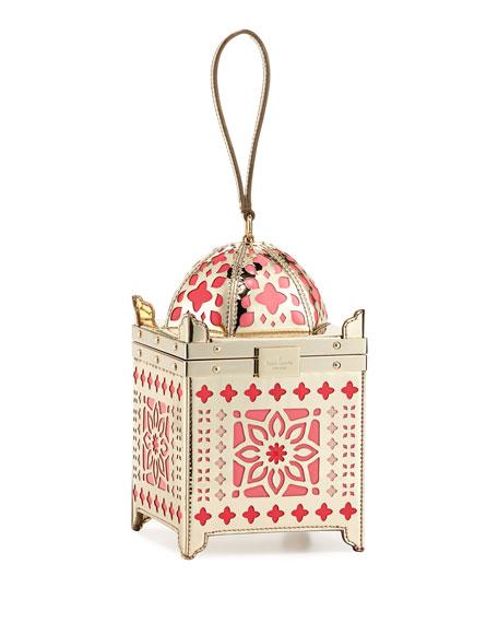 rambling roses lantern clutch bag, gold/rose