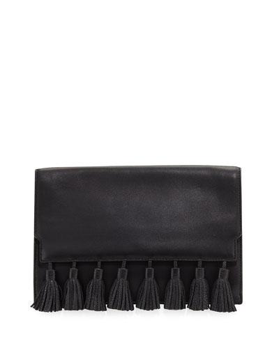 Sofia Tassel Leather Clutch Bag