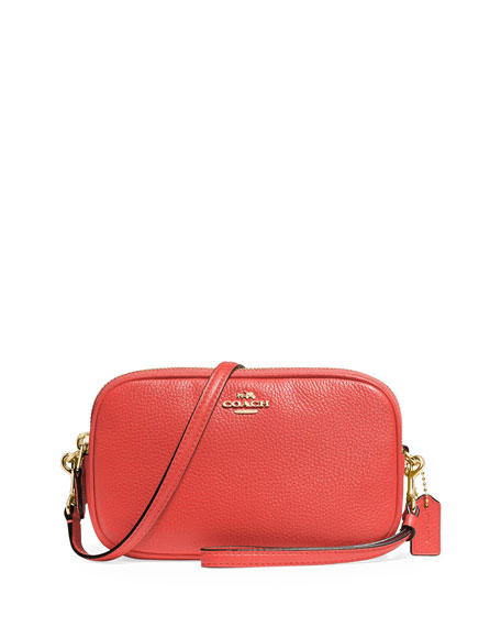 Coach Embossed Signature Crossbody Clutch Bag, Red