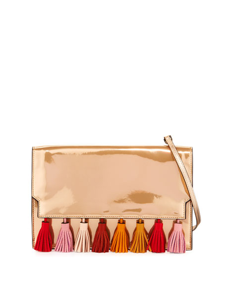 Sofia Tassel Leather Clutch Bag