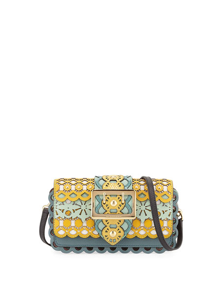 Layered Laser-Cut Shoulder Bag, Blue