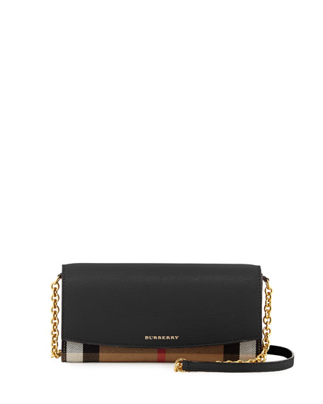 Burberry Henley Check & Leather Wallet-on-Chain, Black
