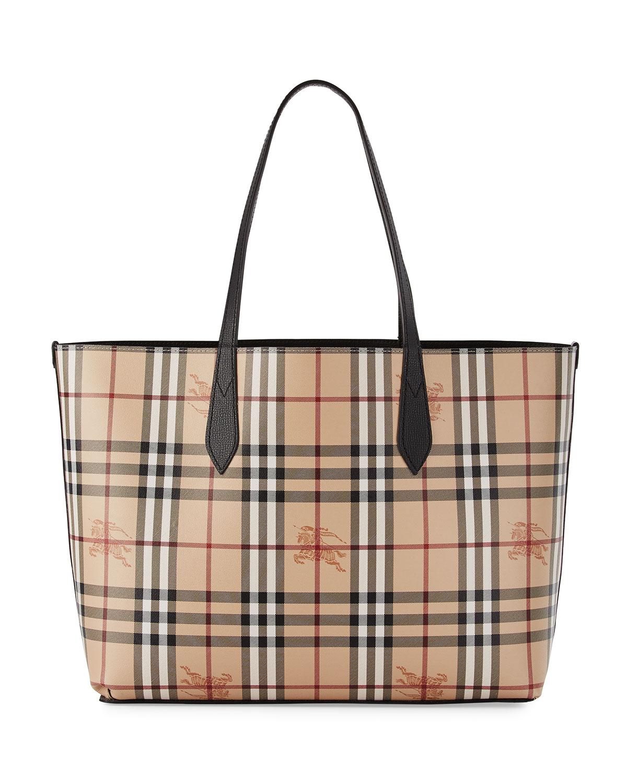 Burberry Lavenby Medium Reversible Check Leather Tote Bag Black Neiman Marcus