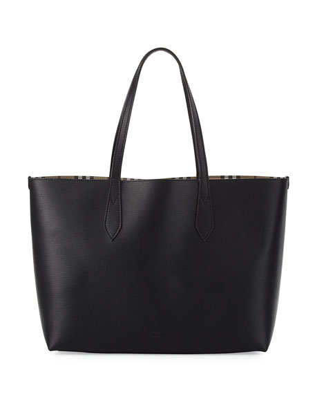 Burberry Lavenby Medium Reversible Check & Leather Tote Bag, Black