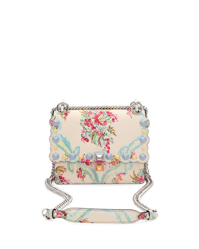 Kan I Mini Aubusson-Print Chain Shoulder Bag, Beige