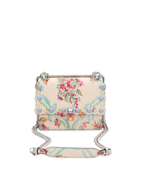 Kan I Mini Aubusson-Print Chain Shoulder Bag, Beige