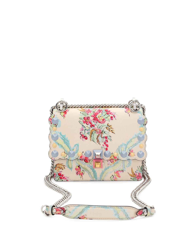 Fendi Kan I Mini Aubusson-Print Chain Shoulder Bag, Beige   Neiman ... c580aae0b7