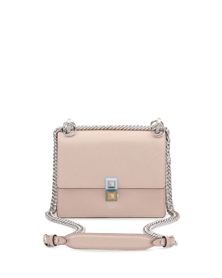 Kan I Mini Leather Chain Shoulder Bag, Beige