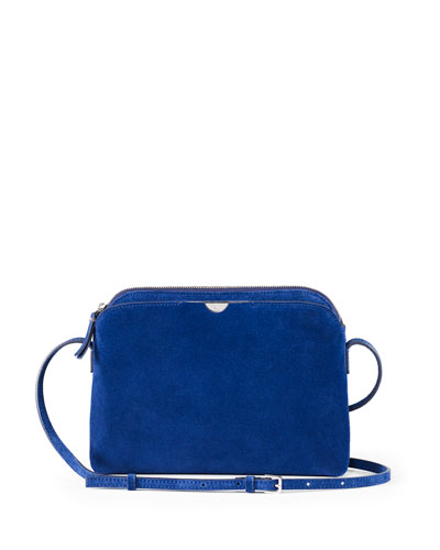 Multi-Pouch Suede Crossbody Bag