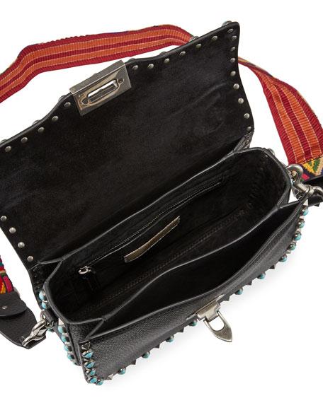 Rockstud Rolling Shoulder Bag with Woven Strap