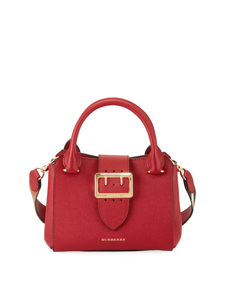 Burberry Buckle Small Leather Tote Bag, Red