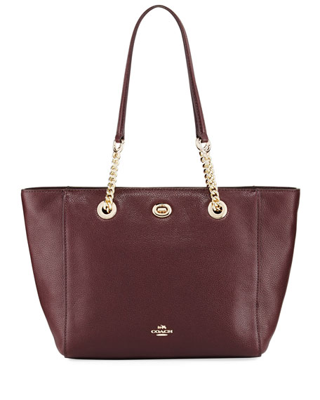 Coach 27 Turnlock Chain Tote Bag, Oxblood