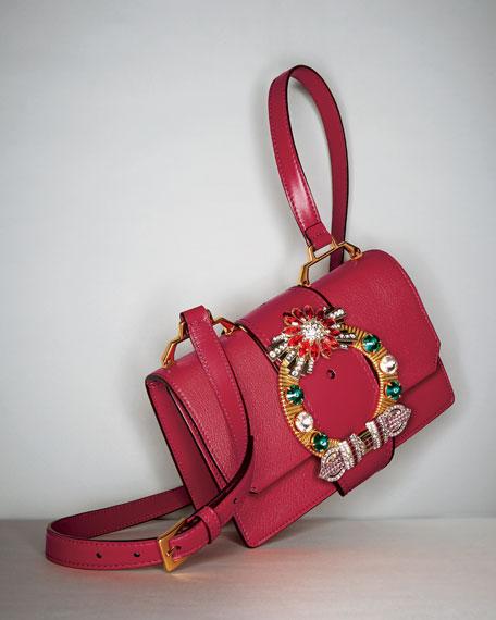 Lady Jeweled Madras Leather Shoulder Bag