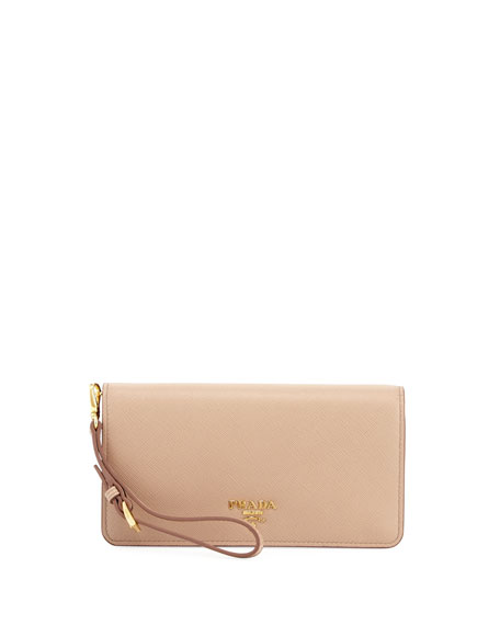 Prada Saffiano Flap Phone Wristlet Wallet w/ Crossbody