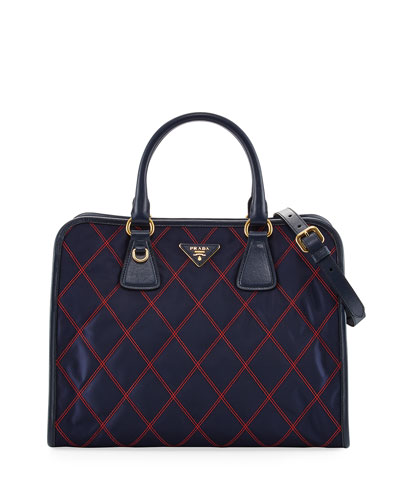 Bicolor Quilted Nylon Medium Top Handle Bag, Blue/Red